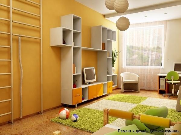 Дизайн для детской с необычным стеллажом, спортивным уголком, рабочим местом
