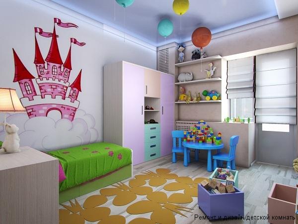 Сказочная атмосфера в детской с рисунком замка на стене