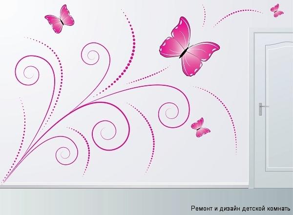 рисунки бабочек на стене