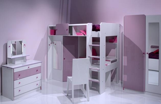 Мебельный модуль с кроватью, шкафчиками и столом для девочки