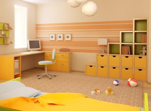 Модель стеллажей в детской комнате ребенка младшего школьного возраста