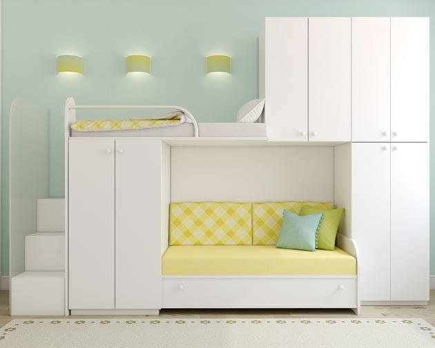 Двухэтажная кровать со шкафчиками для двоих детей