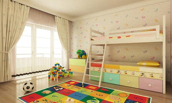 Бежевый цвет в интерьере для двоих детей
