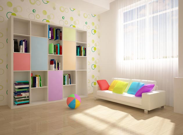 Высокий стеллаж с разноцветными дверцами и частью открытых полок