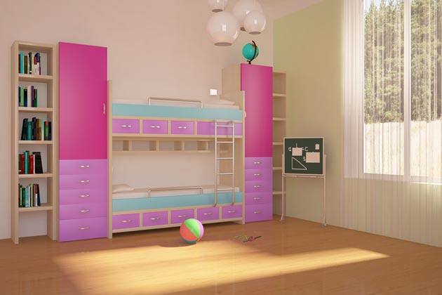 Двухъярусная кровать со шкафчиками и полочками