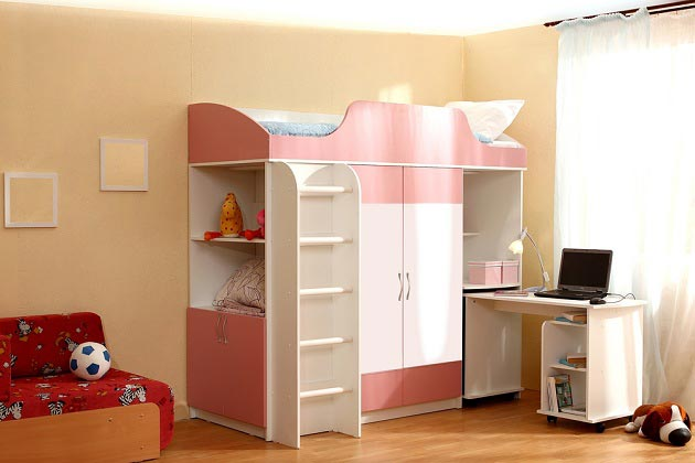 Детский мебельный модуль с кроватью, шкафом, столом, стеллажами