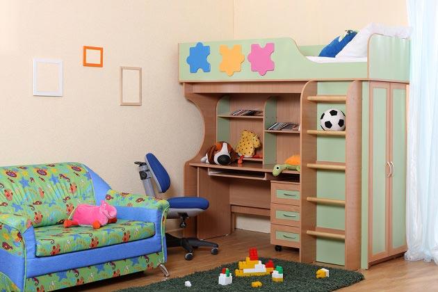 Мебельный детский модуль с рабочим местом внизу