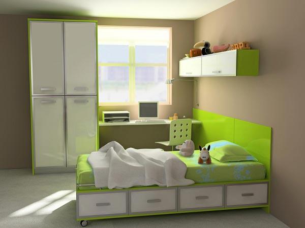 Компактная кровать с ящиками, вместительный шкаф, полки и рабочее место у окна