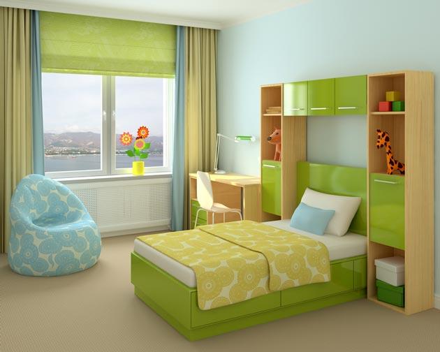 Кровать, стол и стеллажи в зеленом цвете