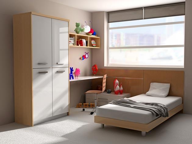 Компактные шкаф, стол и кровать
