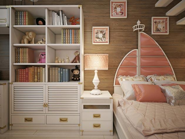 Кровать для девочки в морском стиле с изголовьем в виде парусника