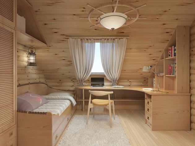 С деревянной мебелью и люстрой в виде штурвала