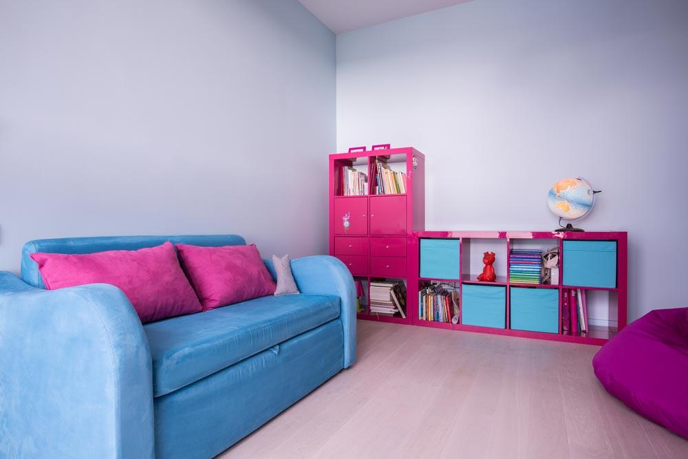 Вариант стеллажа для игрушек и книг с открытыми и закрытыми полками