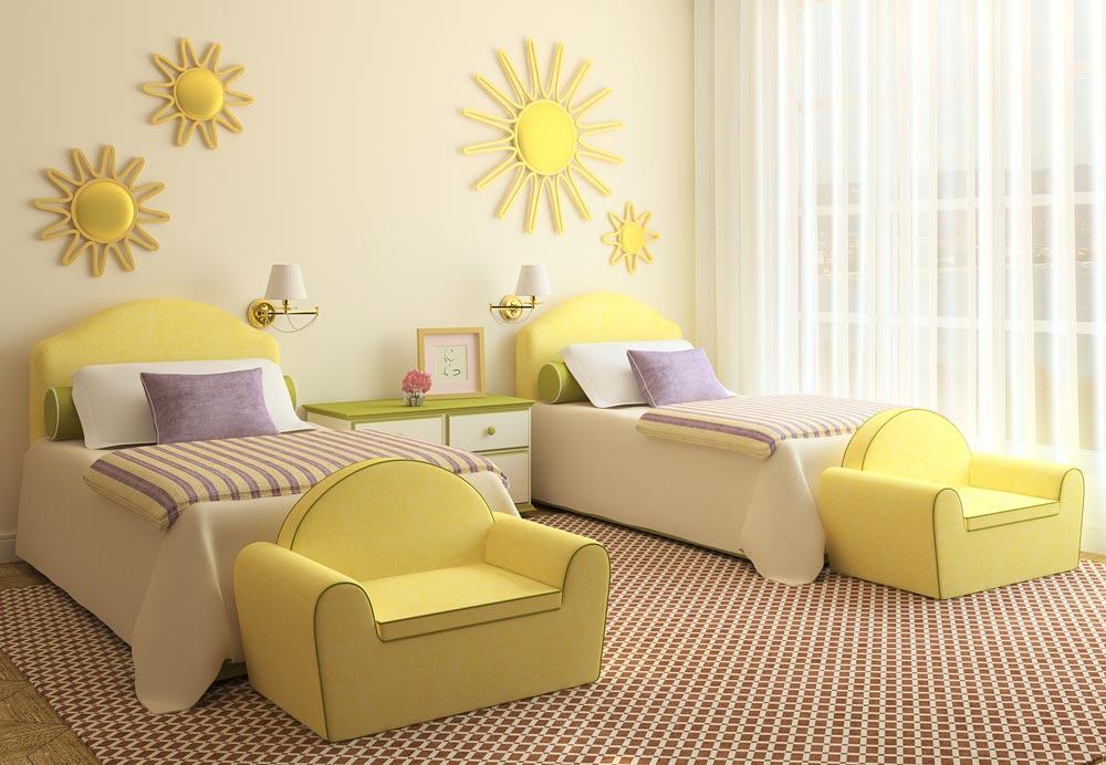 Одинаковый декор кроватей
