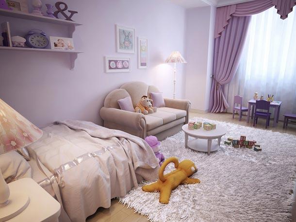 Сиреневые шторы в белой детской комнате