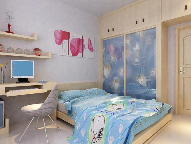 Стильный шкаф-купе, кровать и рабочий стол для девочки