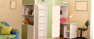 Мебельный комплекс для маленькой детской комнаты