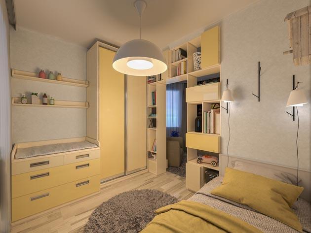 Полки для книг, кровать, стол в бежевых оттенках