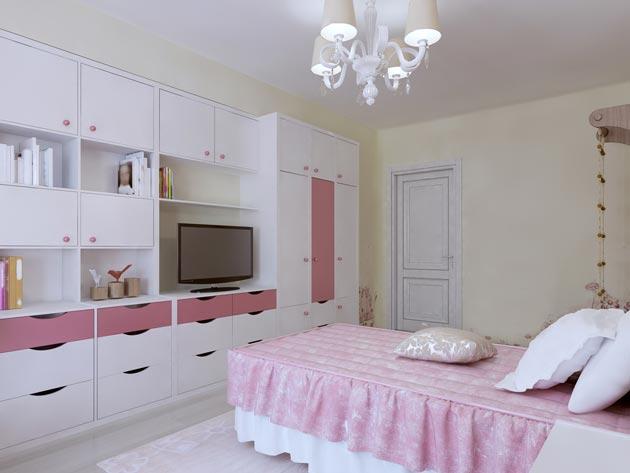 Светлый интерьер с белой мебелью и нежно розовым в текстиле и мебельном декоре