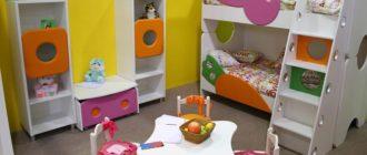 Сочетание в комнате для двоих детей стен желтого и зеленого цвета