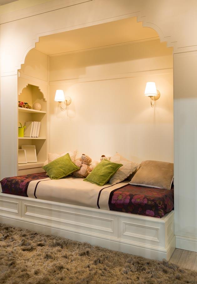 Спальное место для ребенка в нише из гипсокартона