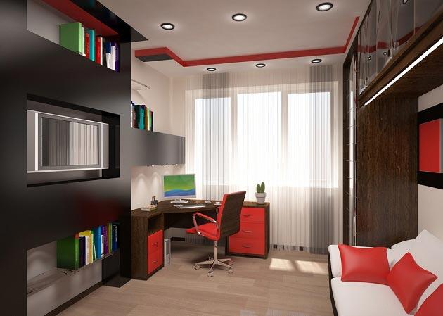 Тандем темной мебели со вставками красного и цветным декором