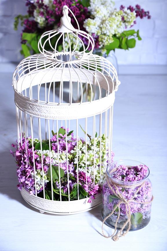 Декоративная клетка с цветами