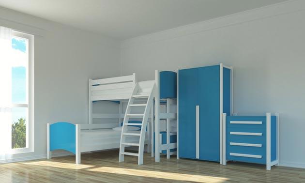Мебель в голубом цвете для двоих детей в комнате со светлыми стенами