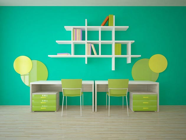 Оформление рабочего места для детей в зелено-желтом сочетании