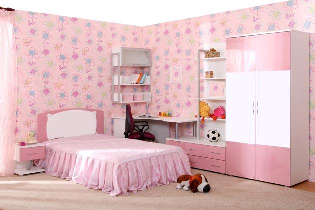 Дизайн интерьера комнаты для девочки в бело розовом цвете