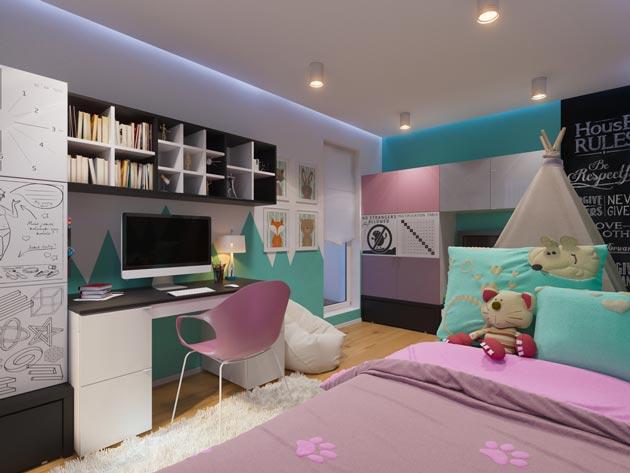 Интерьер для школьницы с росписью стен и мебелью