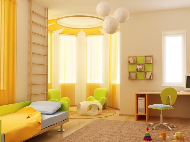 Дизайн интерьера для девочки младшего школьного возраста в желтом и зеленом цвете
