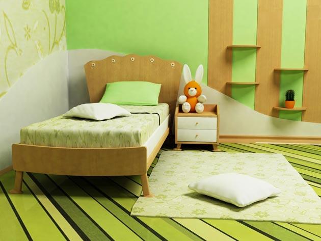 Комната в оттенках зеленого с деревянными полками - панелями