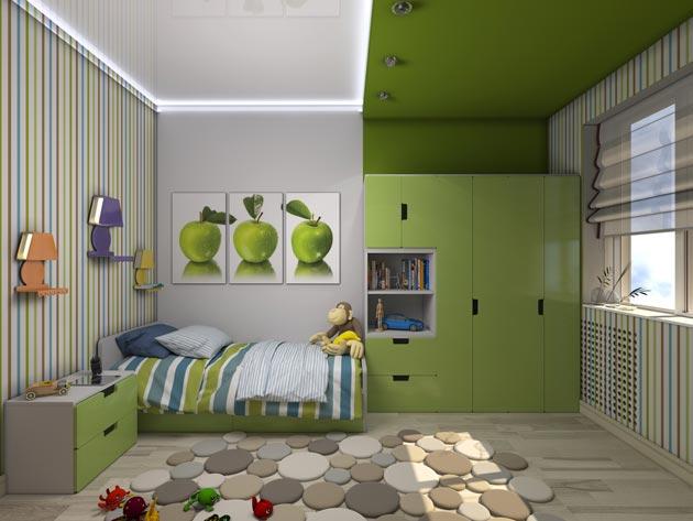 Глянцевый натяжной потолок разного цвета для зонирования комнаты