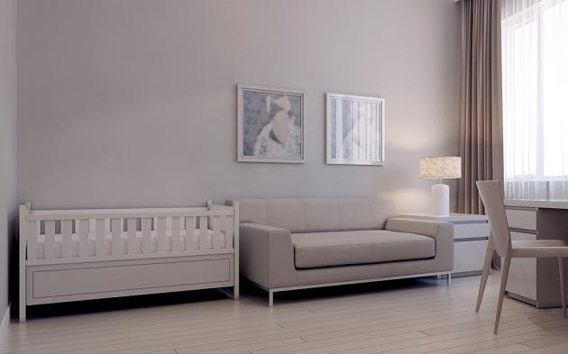 Кроватка рядом с раскладывающимся диваном
