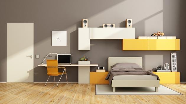 Светло-серый цвет и стильная лаконичная подростковая мебель