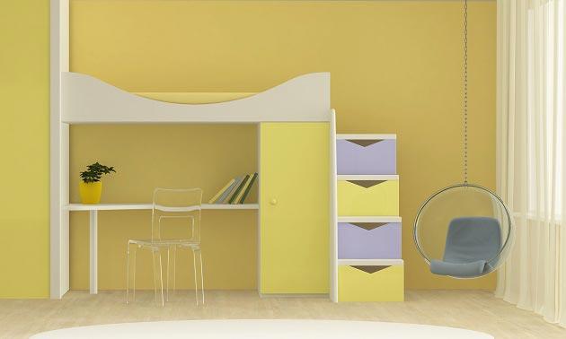 Кровать-чердак с подвесным креслом