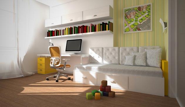 Уютный диван и правильно обустроенное рабочее место