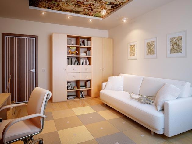 Натяжной потолок в детской комнате с изображением карты