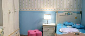 Спальная комната для девочки с комбинированными обоями