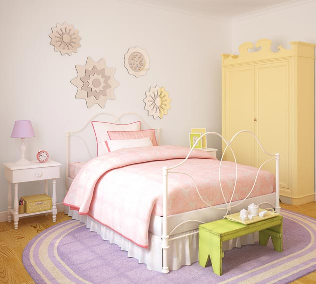 Пастельные оттенки желтого, розового и фиолетового в интерьере для девочки