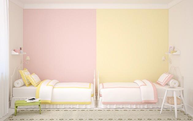 Цветовое зонирование стены разными оттенками