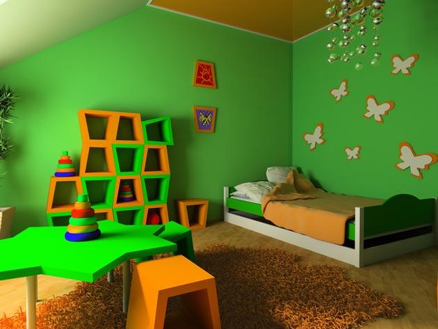Натяжной потолок в яркой детской комнате