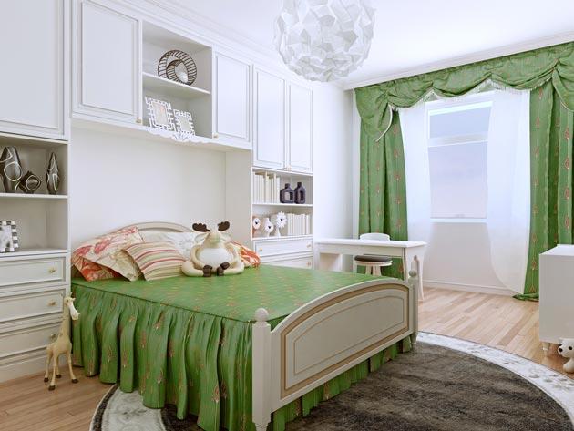 С белой мебелью и ярким текстилем с оборками