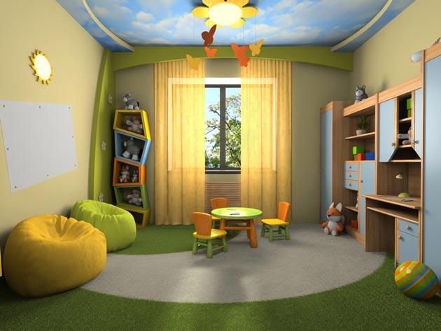 Натяжной потолок в детской комнате с изображением неба с облаками