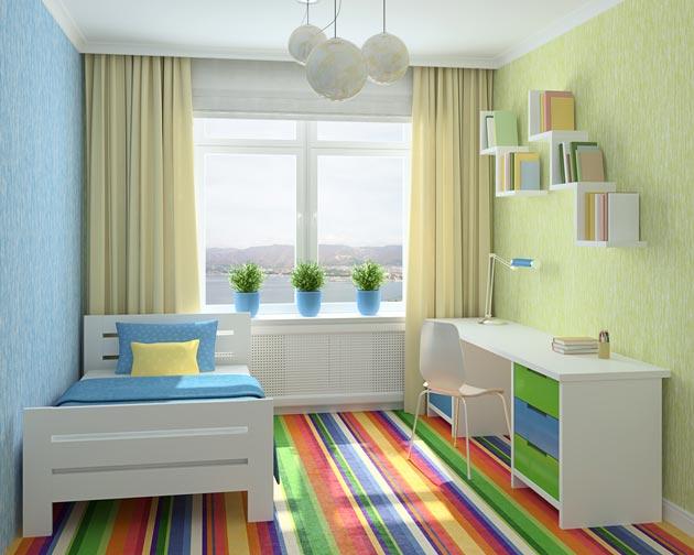 Комбинированный вариант обоев голубого и светло-зеленого цвета