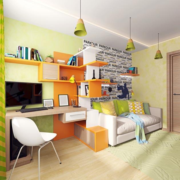 Стильные полки в виде стеллажа, отделяющий стол от дивана-кровати
