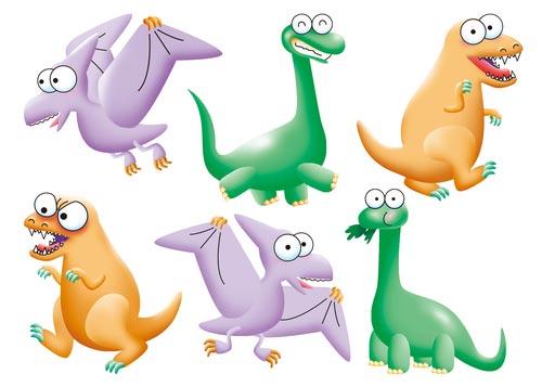 Веселые наклейки на стену с динозаврами