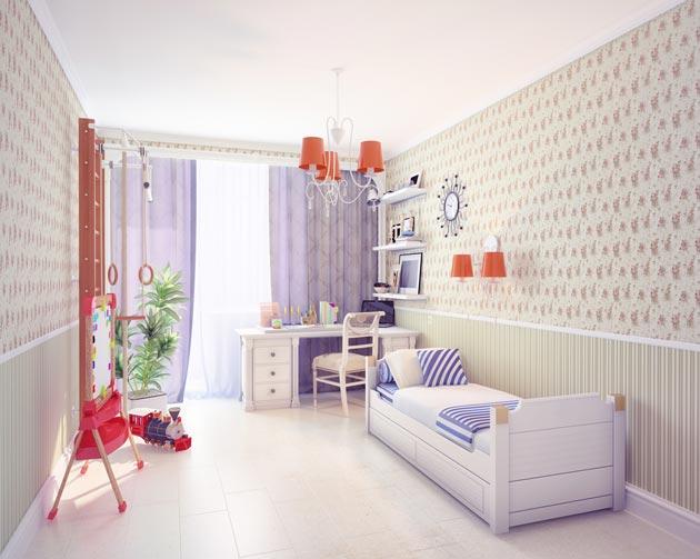 Размещение кровати, письменного стола и спортивного уголка