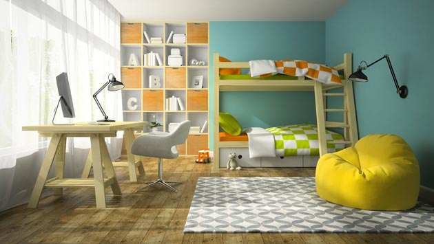 Сочетание в декоре голубого, желтого и оранжевого тонов